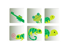 Green cute animals set Royalty Free Stock Photos
