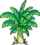 Green cute banana tree cartoon Royalty Free Stock Images