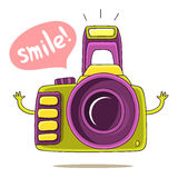 Green Cute camera with his hands and says Smile! Royalty Free Stock Photos