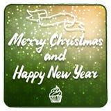 Green cute Christmas card Stock Photos