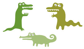 Green Cute Crocodiles Royalty Free Stock Images