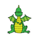 Green cute dragon in cartoon style Stock Images