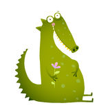 Green Cute Kids Crocodile Sitting with Flower Royalty Free Stock Photos