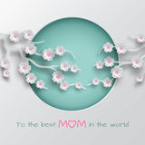 Green cuted circle decorated branch of cherry flowers on white background for mother`s day greeting card. Paper cut out style. Vector illustration, text to the royalty free illustration