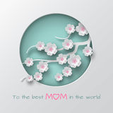 Green cuted circle decorated branch of cherry flowers on white background for mother`s day or women`s day greeting card. Paper cut out art style. Vector Royalty Free Stock Images