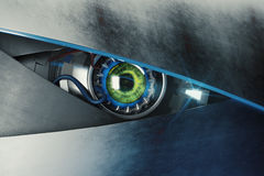 Green cyber eye with mean look. Technology and electronics concept. 3D Rendering Stock Image