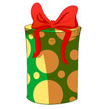 Green cylinder gift box with red bow. Stock Image