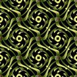 Green 3d abstract wave greek vector seamless pattern. Wavy shape. S ornamental modern background. Surface repeat ornate backdrop. Ornate greek key meanders vector illustration
