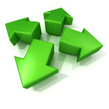 Green 3D arrows expanding. Front view Stock Photo