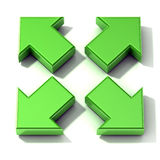 Green 3D arrows expanding. Top view Royalty Free Stock Image