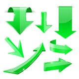 Green 3d arrows. Shiny icons. Vector illustration isolated on white background Royalty Free Stock Photo
