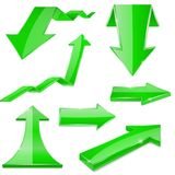 Green 3d arrows. Shiny icons. Vector illustration isolated on white background Royalty Free Stock Photos
