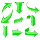 Green 3d arrows. Shiny icons. Vector illustration isolated on white background Stock Images
