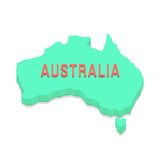 Green 3d Australia silhouette Stock Photography
