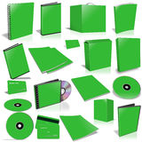 Green 3d blank cover collection. Isolated on white Stock Images