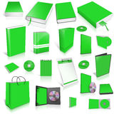 Green 3d blank cover collection. Isolated on white Stock Photo