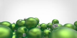 Green 3D christmas balls tree globes  on w Stock Image