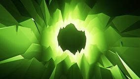 Green 3D Low Poly Crystal Cave Tunnel Loopable Motion Background. Backdrop stock video