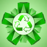Green 3D shape layout with recycle sign vector Stock Images