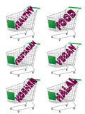 Green 3D Shopping Cart Healthy Food Royalty Free Stock Image