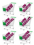 Green 3D Shopping Cart New Arrivals Stock Photography