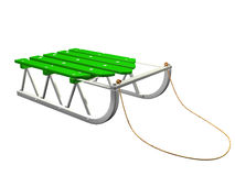 Green 3D sled on white background. Illustration royalty free illustration