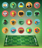 Green 3d soccer field with flat soccer icons set Stock Photos