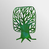 Green 3d tree cutout design concept of nature help Royalty Free Stock Image