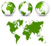 Green 3D Vector World - Globe Collection and Undistorted 2D Earth Map in Green Color. Beautiful Green Colored Globe for Your Graphic Business or own ECO Design royalty free illustration