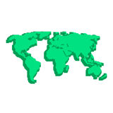 Green 3d world map like pix elements. Concept of locations, 8bit videogame, topography, geographica, schooling, wallpaper. isolated on white background vector illustration