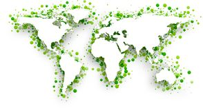 Green 3d world map. Vector paper illustration royalty free illustration