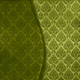Green Damask Seamless. Rich, two toned green floral damask fabric seamless wavy ornate background Stock Photography