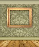 Green Damask Wall With Empty Picture Frame stock photos