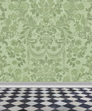 Green  Damask Wall and Marble Floor. Elegant pale green damask wallpaper with checkerboard marble floor Stock Image