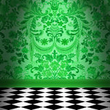 Green Damask Wallpaper With Black & White Checkerboard Tile Floor stock photos