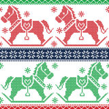 Green, dark blue , red Christmas Scandinavian seamless Nordic pattern with  rocking dala pony horses, stars, snowflakes in c Royalty Free Stock Photos