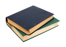 Green and dark blue two old books. Royalty Free Stock Image
