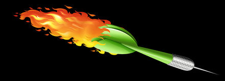 Green dart on fire Stock Photography