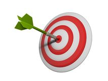Green dart hitting target Royalty Free Stock Images