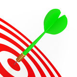Green Dart On Red Target Royalty Free Stock Images
