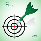 Green dart with taransparent target. Vector illustration of green dart with transparent target. Background and description are in separate layers stock illustration