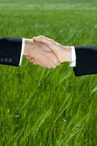 Green Deal. Two businessman shake hands against a green field ground with loads of copy space royalty free stock photos