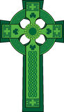 Green decorated celtic cross with shamrock Stock Photos