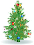 Green decorated Christmas tree isolated on white Royalty Free Stock Images