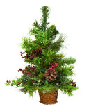 Green Decorated Christmas Tree On White Background. Stock Photo