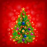 Green decorated Christmas tree on red background. Realistic vector Stock Image