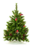Green Decorated Christmas Tree  on White Background. Closeup Stock Images