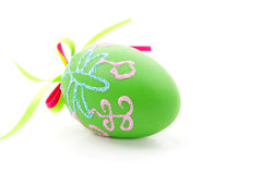 Green decorated easter egg Royalty Free Stock Image