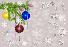 Green decorated fir branch on light snowflake background. Illustration with green decorated fir branch on light snowflake background Stock Images
