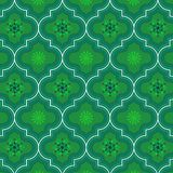 Green decorated Morocco floral repeating pattern. Cool green monochromic Moroccan ethnic seamless pattern with beautiful floral decorative design for textile stock illustration